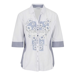 New 2018 Just White Floral Shirt - White