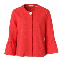 New 2018 Just White Bell Sleeve Cardigan - Coral/red
