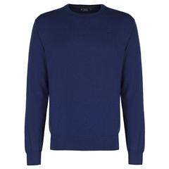 New 2018 Hackett Cotton Silk Crew Jumper - Denim