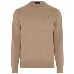New 2018 Hackett Cotton Silk Crew Jumper -Light Brown