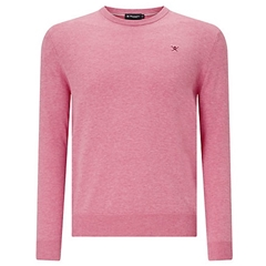New 2018 Hackett Cotton Silk Crew Jumper - Fresh Fuchsia
