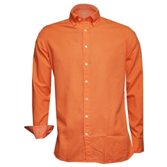 New 2018 Hackett Cotton Oxford Shirt - Faded Orange