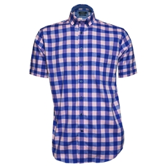 New 2018 Giordano Shirt - Blue Pink Check - Regular Fit