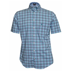 New 2018 Fynch Hatton Half Sleeve Shirt - Turquoise & Blue