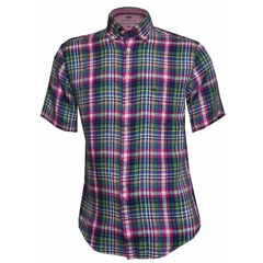 New 2018 Fynch Hatton Half Sleeved Linen Shirt - Madras Check