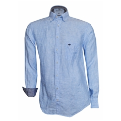 New 2018 Fynch Hatton Linen Shirt - Blue
