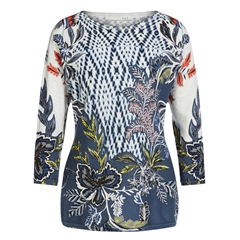 New 2018 Oui Printed Fine Knit Jumper - Blue White