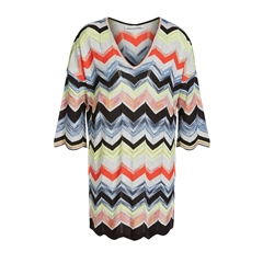 New 2018 Oui Knitted Tunic In Zig-Zag Design - Multi