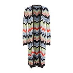 New 2018 Oui Knitted Cardigan In Zig-Zag Design - Multi