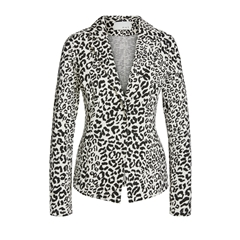 New 2018 Oui Animal Print Blazer - Black/White