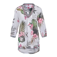 New 2018 Just White Tropical Blouse - Pink/Karki