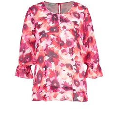 New 2018 Gerry Weber Blouse with Smocked Sleeves - Pink