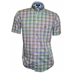 New 2018 Fynch Hatton Half Sleeve Shirt - Green Check