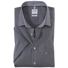 Olymp Comfort Fit Short Sleeve Shirt - Black Check - 3190 12 68