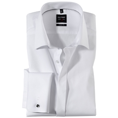 Olymp Level Five White Evening Dress Shirt Extra Long Sleeve - Body Fit