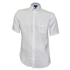 New 2018 Fynch Hatton Linen Half Sleeve Shirt - White
