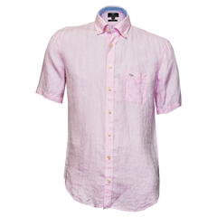 New 2018 Fynch Hatton Linen Half Sleeve Shirt - Rose