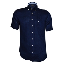 New 2018 Fynch Hatton Linen Half Sleeve Shirt - Navy