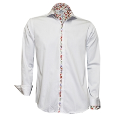 New 2018 Claudio Lugli White With Floral Trim Shirt