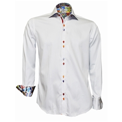 New 2018 Claudio Lugli White With Trim Shirt Multi Buttons