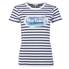 New 2018 Barbour Dover Tee - White/Navy