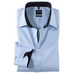 Olymp Level Five Body Fit Shirt  - Sky Blue Structure Shirt with Contrast Collar