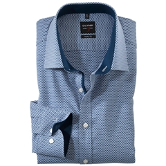Olymp Level Five Body Fit Shirt  - Navy Structure Shirt with Contrast Collar