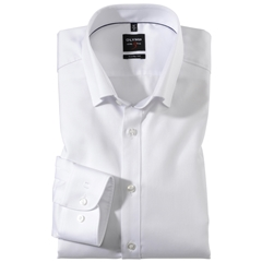 Olymp Level Five Body Fit Shirt  - White Diamond Twill Button Under Collar