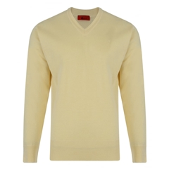 Gabicci Classic Knitted Plain V Neck - Corn