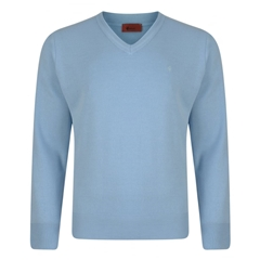 Gabicci Classic Knitted Plain V Neck - Sky