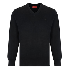 Gabicci Classic Knitted Plain V Neck - Black