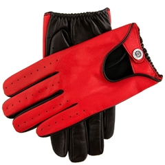 Dents Men's Two Colour Leather Driving Gloves - Black and  Fireball