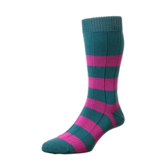 Scott Nichol by Pantherella Rugby Stripe Cotton Socks - Ely - Petrol Orchid