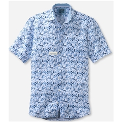 New 2021 Olymp Casual Modern Fit Linen Shirt - White Navy Blue Leaves