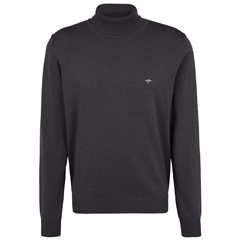 Fynch Hatton Roll Neck Cotton Sweater - Charcoal