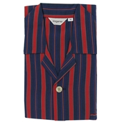 Men's Nightshirt - Navy Blue Red Satin Stripe