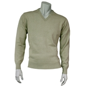 Franco Ponti Classic Vee Neck Sweater - Medium Weight - Beige
