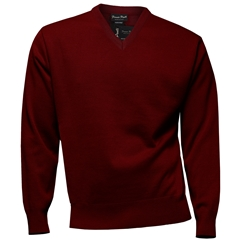 Franco Ponti Classic Vee Neck Sweater - Medium Weight - Burgundy