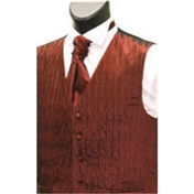 Men's 'Crinkle Finish' Wedding Waistcoat- Wine