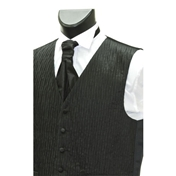 Men's 'Crinkle Finish' Wedding Waistcoat- Black