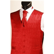 Men's 'Crinkle Finish' Wedding Waistcoat- Red