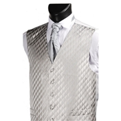 Men's Diamond Wedding Waistcoat - Grey