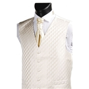 Men's Diamond Wedding Waistcoat - Ecru