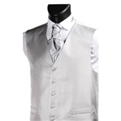Men's Narrow Stripe Wedding Waistcoat- Grey