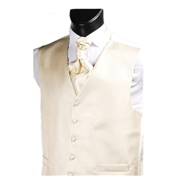 Men's Narrow Stripe Wedding Waistcoat- Beige