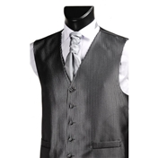 Men's Narrow Stripe Wedding Waistcoat- Black/Silver