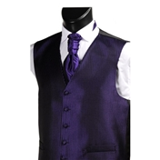 Men's Narrow Stripe Wedding Waistcoat- Black/Purple