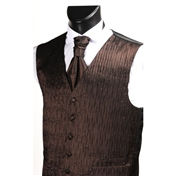 Men's 'Crinkle Finish' Wedding Waistcoat- Chocolate