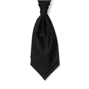 Men's Silk Shantung Wedding Cravat- Black