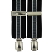 Luxury Clip-On Brace - Black, Grey and White Stripe